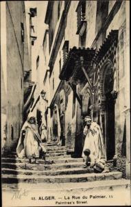 Ak Algier Alger Algerien, La Rue du Palmier, Palmtree's Street