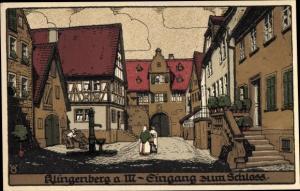 Steindruck Ak Klingenberg am Main, Eingang zum Schloss