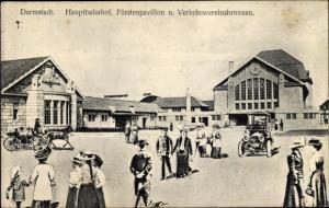Ak Darmstadt in Hessen, Hauptbahnhof, Fürstenpavillon, Verkehrsvereinsbrunnen