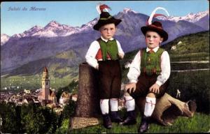 Ak Meran Merano Südtirol, Panorama, Kinder in Trachten