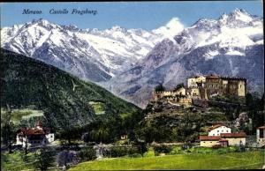 Ak Meran Merano Südtirol, Panorama, Castello Fragsburg