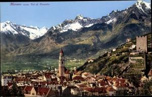 Ak Meran Merano Südtirol, Panorama, Veduta generale verso Val du Venosta