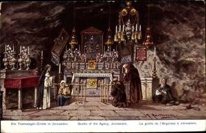 Künstler Ak Perlberg, F., Jerusalem Israel, Todesangst Grotte in Jerusalem, Altar, Ackermann 783 46