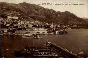 Ak Monte Carlo Monaco, Hafenpartie, Entree du Port et le Tir aux Pigeons