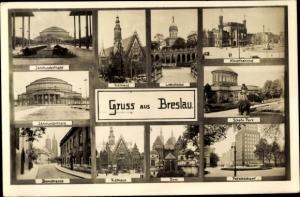 Ak Wrocław Breslau Schlesien, Jahrhunderthalle, Bahnhof, Rathaus