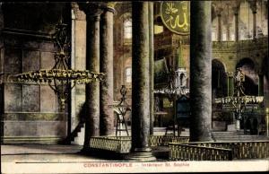 Ak Constantinople Konstantinopel Istanbul Türkei, Interieur St. Sophie