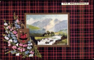 Wappen Passepartout Ak Glencoe Schottland, The Macdonald, Tuck No. 9403