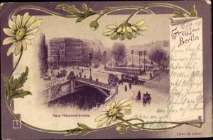 Litho Berlin Mitte, Neue Potsdamerbrücke, Teilansicht