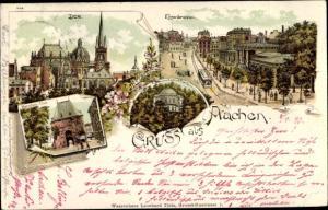 Litho Aachen in Nordrhein Westfalen, Dom, Elisenbrunnen, Manschier Tor