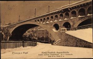 Ak Plauen im Vogtland, König Friedrich August Brücke, Winter