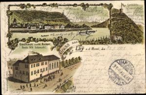 Litho Lay Koblenz Rheinland Pfalz, Carolahöhe, Gasthaus zum Anker