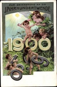 Ganzsachen Litho Glückwunsch Neujahr, Jahrhundertwende, Jahreszahl 1900, PP 8 C 4