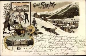 Litho Davos Kt. Graubünden Schweiz, Eislaufen, Schlitten, Panorama vom Ort, Basler Sanatorium