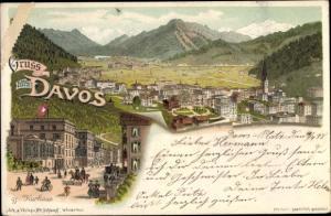Litho Davos Kanton Graubünden Schweiz, Panorama vom Ort, Kurhaus