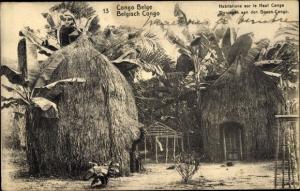 Ganzsachen Ak DR Kongo Zaire, Habitations sur le Haut Congo