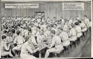 Künstler Ak Deutsche Soldaten, Feldgraue, Entlausungsanstalt, Nach vollendeter Sanierung, Kantine