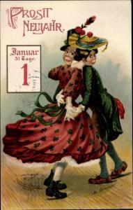 Künstler Ak Greiner, M., Glückwunsch Neujahr, Tanzendes Paar, Kalenderblatt