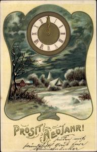 Präge Ak Glückwunsch Neujahr, Uhr, Winterlandschaft