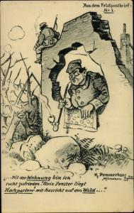 Künstler Ak Pommerhanz, K., Soldatenunterkunft in Ruinen, Feldpostbrief No. 1