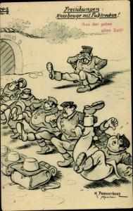 Künstler Ak Pommerhanz, K., Freiübungen, Kniebeuge mit Fußstrecken, Soldatenhumor