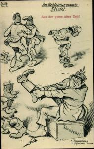 Künstler Ak Pommerhanz, K., Im Bekleidungsamte, Stiefel, Soldatenhumor