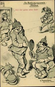 Künstler Ak Pommerhanz, K., Im Bekleidungsamte, Helme, Soldatenhumor