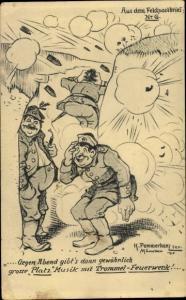 Künstler Ak Pommerhanz, K., Platzmusik mit Trommel Feuerwerk, Soldatenhumor
