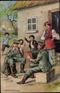 Künstler Ak Heimatsklänge, Soldaten mit Musikinstrumenten, Frau in Tracht