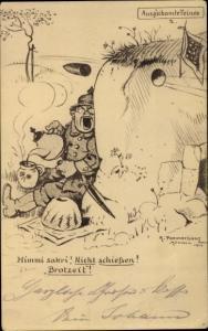 Künstler Ak Pommerhanz, K., Himmi sakri, Nicht schießen, Brotzeit, Ausg'schamte Feinde