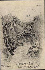 Künstler Ak Deutsche Soldaten, Sonnenbad am Unterstand, I. WK
