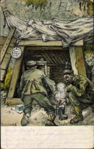 Künstler Ak Kurzweg, Eingang zum Dachsbau, Deutsche Soldaten vor Unterstand