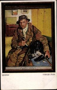 Künstler Ak Groeber, Tyroler Jäger mit Pfeife und Hund