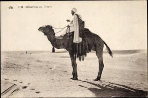 Ak Mehariste au Desert, Mann auf einem Kamel in der  Wüste