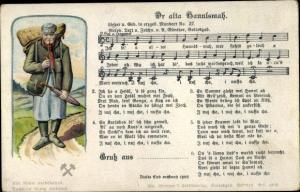 Lied  Ak Günther, Anton, Dr alta Hannlsmach, Mann mit Regenschirn und  Korb auf dem Rücken