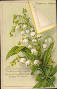 Ak Fürwahr der Frühling ist erwacht, Maiglöckchenstrauß