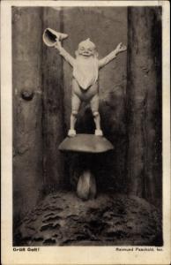 Künstler Ak Paschold, R., Grüß Gott, Zwerg steht auf einem Pilz