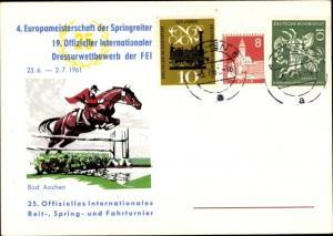 Ak Aachen in Nordrhein Westfalen, 4. Europameisterschaft der Springreiter 1961