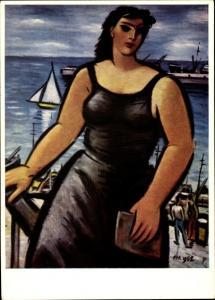 Künstler Ak Masereer, Frau aus der Provence in Schwarz