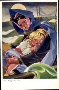 Künstler Ak Stryjenska, Zofia, Mutter mit Kind