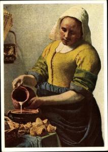 Künstler Ak Vermeer van Delft, Die Küchenmaid