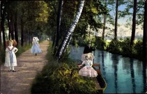 Ak Spreewaldbilder, Zu Wasser und zu Lande