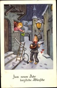 Ak Glückwunsch Neujahr, Schornsteinfeger singt ein Ständchen