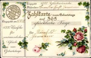 Ak Glückwunsch Geburtstag, Rosen, Vergissmeinnicht, Kleeblätter, Zahlkarte