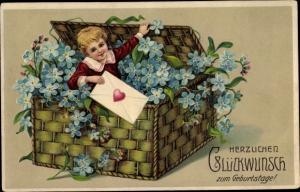 Präge Litho Glückwunsch Geburtstag, Junge, Weidenkorb, Vergissmeinnicht