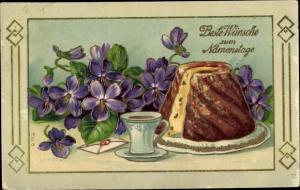 Präge Litho Glückwunsch Namenstag, Napfkuchen, Veilchen