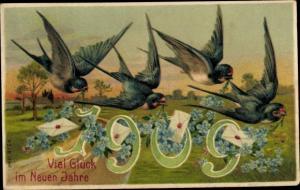 Präge Ak Glückwunsch Neujahr, Jahreszahl 1909, Schwalben, Vergissmeinnicht