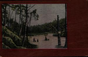 Handgemalt Ak Landschaft, Bäume, Personen