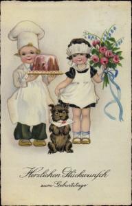 Ak Glückwunsch Geburtstag, Bäcker, Kuchen, Dienstmädchen mit Blumenstrauß, Hund