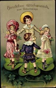 Präge Litho Glückwunsch Geburtstag, Kinder auf einem Kleeblatt, EAS