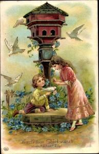 Präge Litho Glückwunsch Geburtstag, Taubenschlag, Junge, Mädchen, Vergissmeinnicht